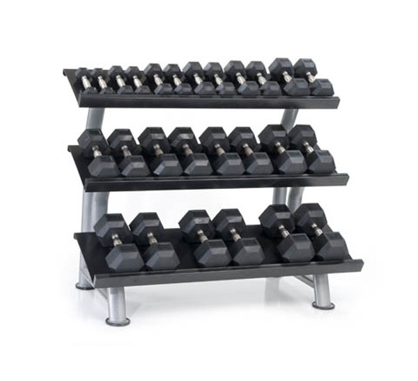 Dumbbell Set And Rack For Sale: Outdoor 8 Pair Urethane Dura-Bell Dumbbells Set With Rack
