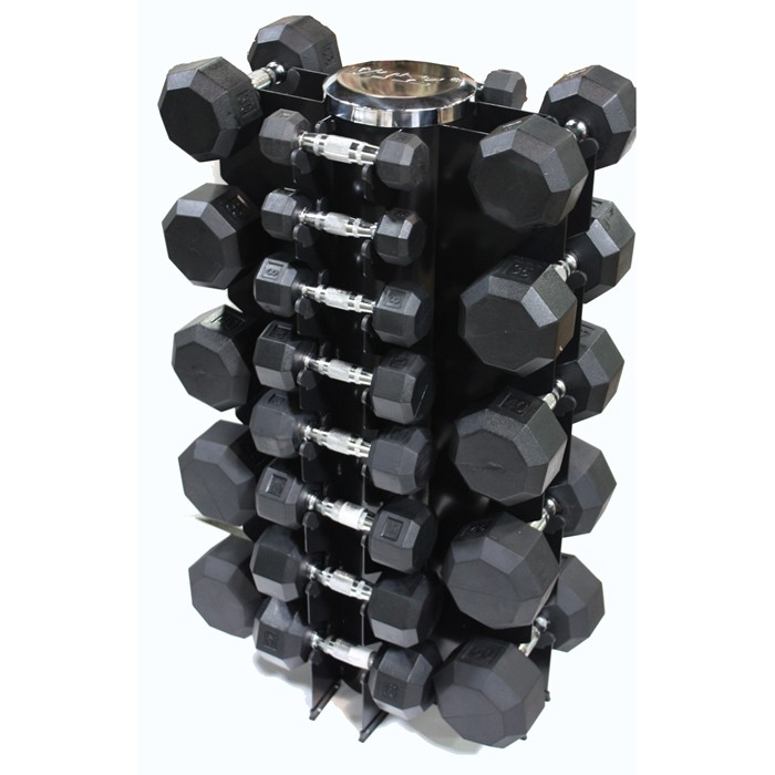 Rubber Dumbbell Set: Troy 13 Pair Rubber Dumbbell Set W Rack