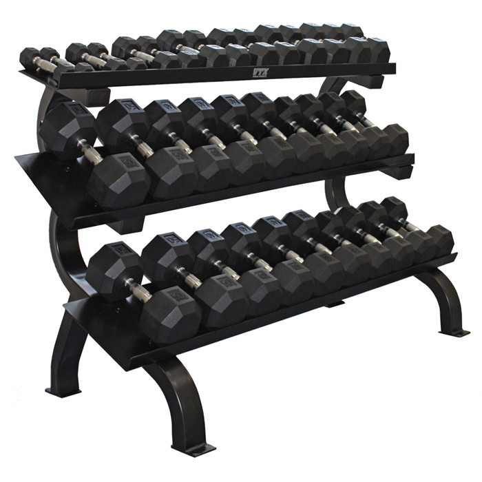 Rubber Dumbbell Set: Troy 15 Pair Rubber Dumbbell Set W Rack