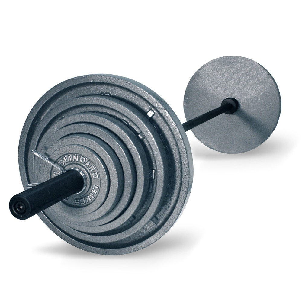 More Views Troy 300 Lb Olympic Weight Set With Grey Plates And Black Bar