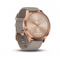Garmin vívomove HR Premium - Rose Gold Stainless Steel Case with Gray Suede Band