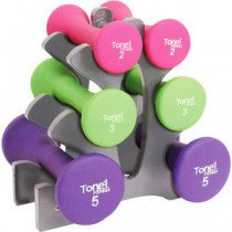 Cap Barbell SDNHS-TN020  20lb Neoprene Dumbbell Set wRack