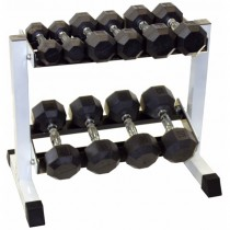Troy 5 Pair Rubber Dumbbell Set w Rack