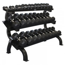 Troy 15 Pair Rubber Dumbbell Set w Rack