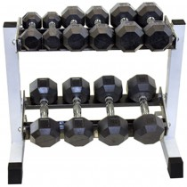 Troy 5 Pair Rubber Dumbbell Set with Rack