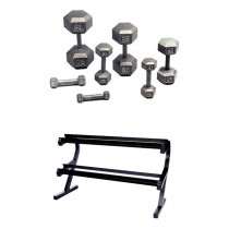 Troy 5-50 Pound Hex Dumbbell Set with 2-Tier Rack