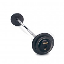 Troy Fixed Weight Barbell with Black Plates and Straight Chrome Bar