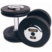 Troy Pro-Style Black Plate Chrome Endcap Dumbbells
