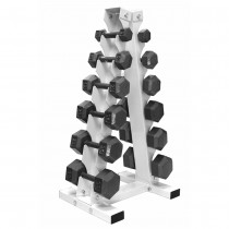 "Troy 6 Pair IHD Solid Hex Dumbbells with ""A"" Frame Rack"