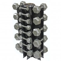 Troy 13 Pair Solid Hex Dumbbells with 4-Sided Vertical Rack