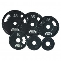 "York Barbell 2"" G-2 Dual Grip Cast Iron Olympic Plate - Black"