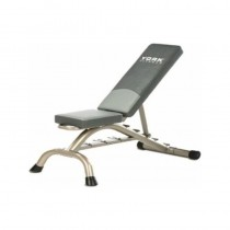 York Multi-Position Fitness Bench Press w/ Fitbell Storage - Silver Frame