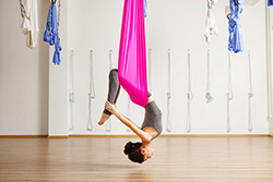 Inversion therapy with pink cloth